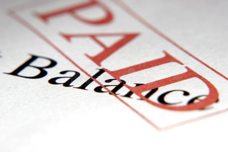 Équilibre payé photo stock