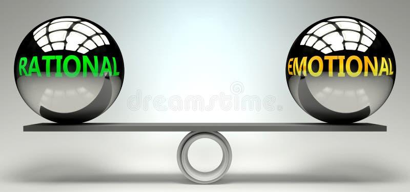 Équilibre rationnel et émotionnel, harmonie et relation représentés sous forme de deux boules égales avec des mots de texte montr illustration stock