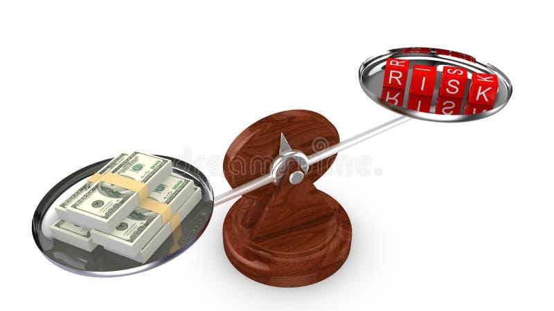 Équilibrez avec le dollar sur un et découpez avec le risque de mot illustration libre de droits