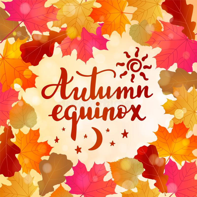 Équinoxe d'automne -- citation manuscrite de lettrage illustration stock