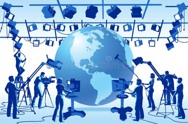 Équipage de studio de chaîne de télévision illustration libre de droits