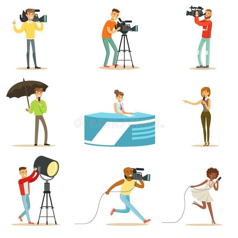 Équipage des informations des cameraman professionnels et des journalistes créant l'émission de TV de Live Television Set Of Cart illustration libre de droits