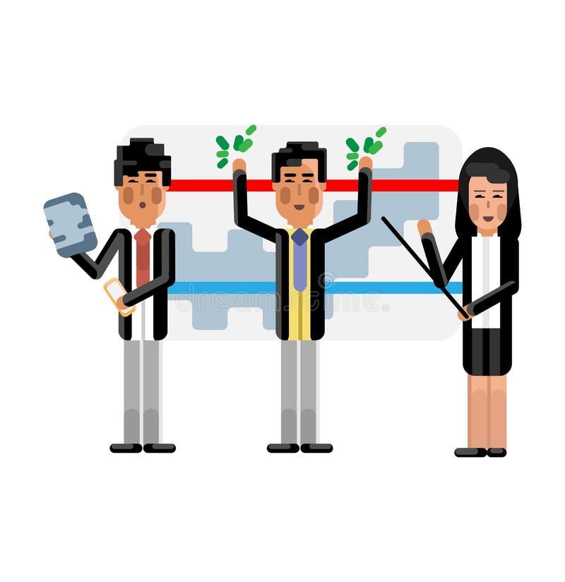 Équipe asiatique d'affaires présent votre projet illustration stock