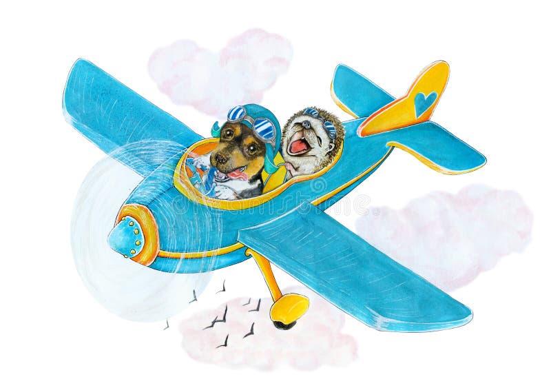 Équipe bleue d'avion d'aviateurs chien et hérisson illustration libre de droits