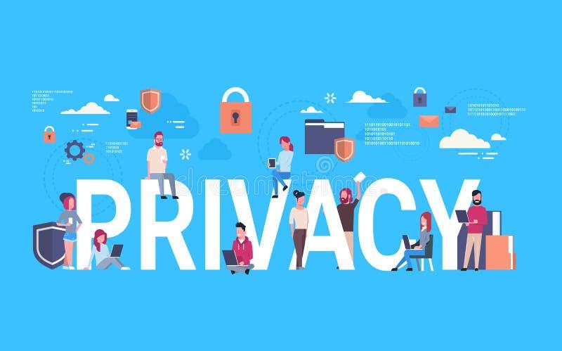Équipe d'affaires au-dessus de fond infographic isométrique de confidentialité des données de GDPR protection de réseau de généra illustration de vecteur