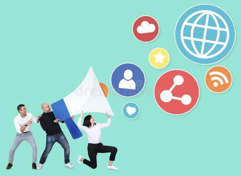 Équipe d'affaires avec la sécurité d'Internet photos libres de droits
