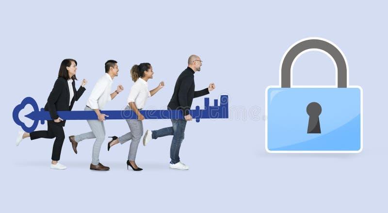 Équipe d'affaires avec la sécurité d'Internet images libres de droits
