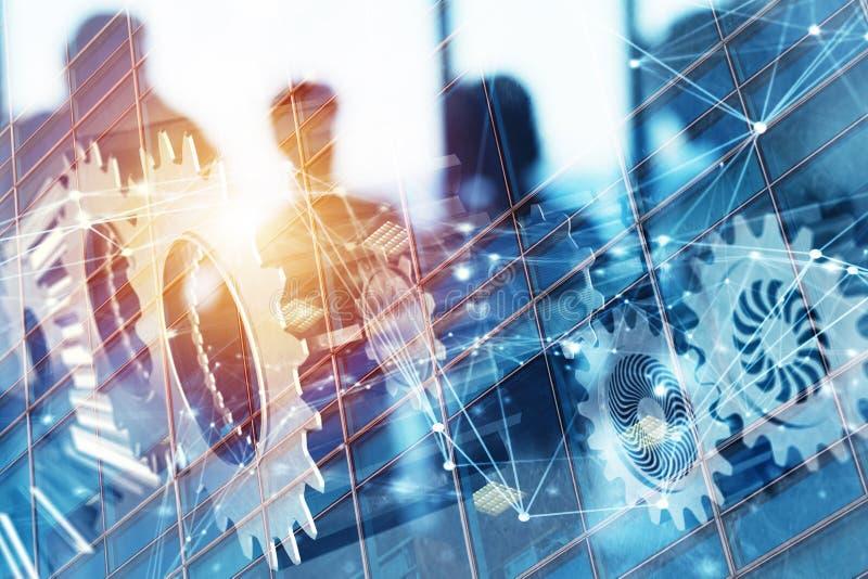 Équipe d'affaires avec le système de vitesses Travail d'équipe, association et concept d'intégration avec l'effet de réseau Doubl illustration de vecteur