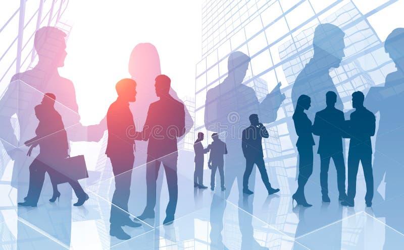 Équipe d'affaires communiquant, gratte-ciel photo stock