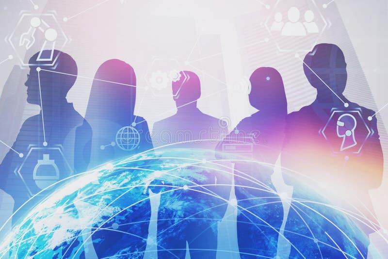Équipe d'affaires dans la ville, interface d'Internet illustration de vecteur