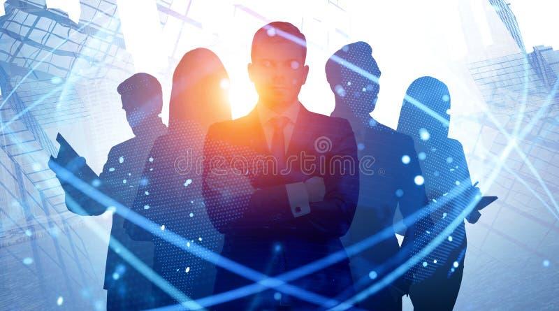 Équipe d'affaires dans la ville, réseau numérique photographie stock