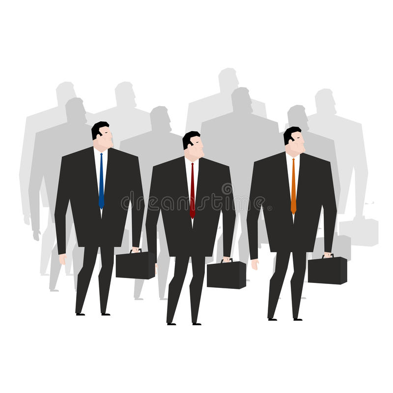 Équipe d'affaires Directeurs de foule Beaucoup d'hommes d'affaires Commis de bureau de foule illustration libre de droits