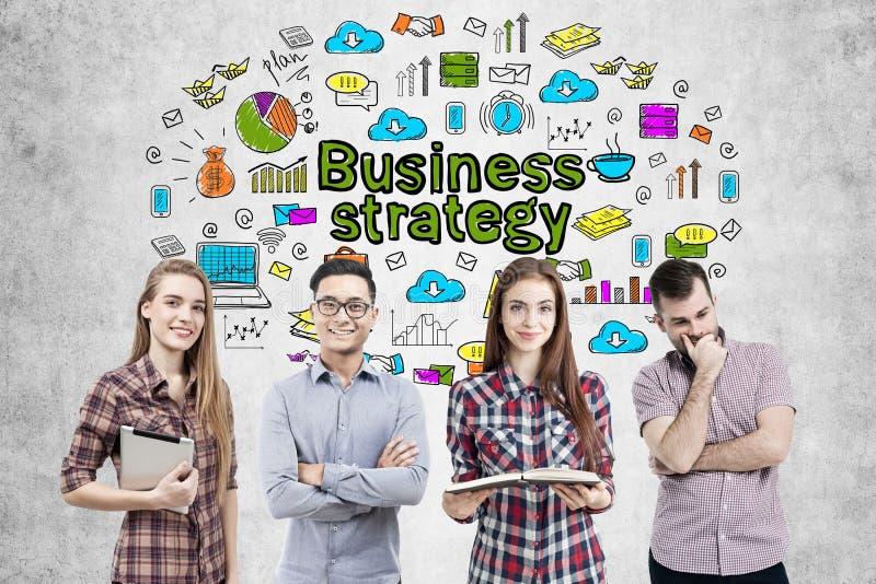 Équipe d'affaires et icônes de stratégie commerciale images stock