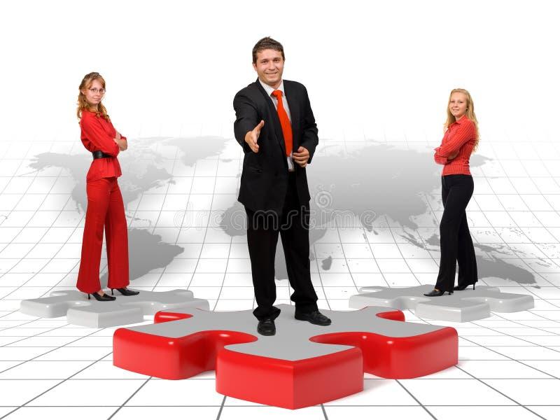 Équipe d'affaires et solutions - monde illustration stock