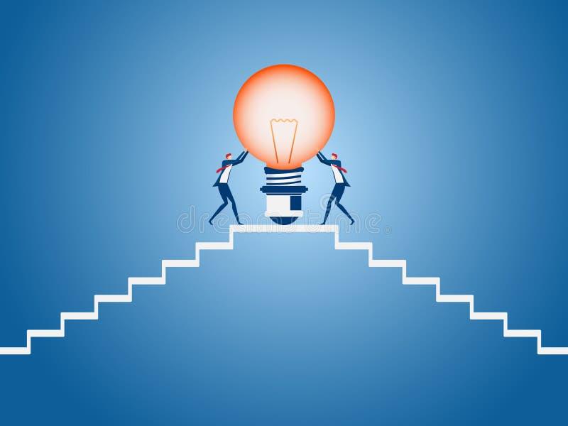 Équipe d'affaires portant l'idée d'ampoule sur les escaliers de viser et le point de succès Étape d'escaliers au succès illustration stock