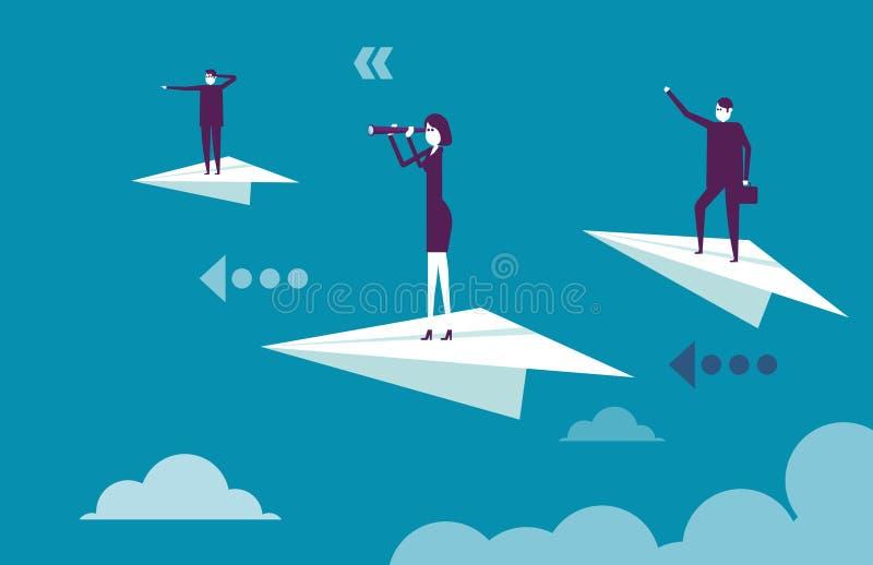 Équipe d'affaires se tenant sur les avions de papier Illustration b de vecteur images libres de droits