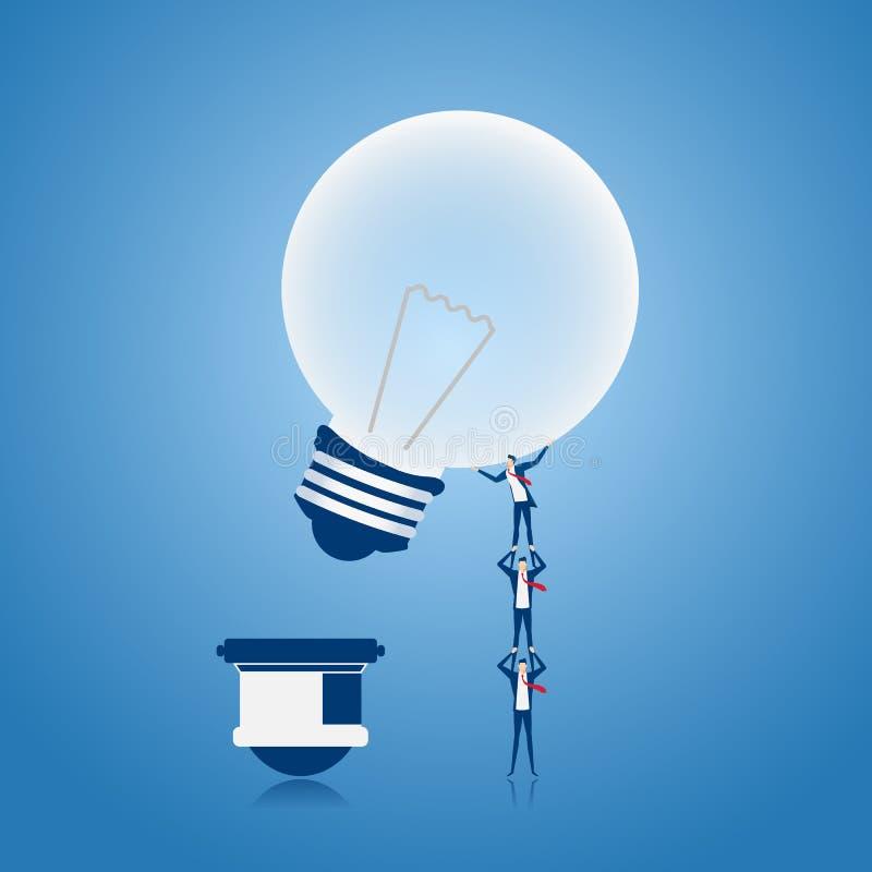 Équipe d'affaires soulevant et poussant l'idée d'ampoule de viser et le point de succès Concept de travail d'équipe illustration stock