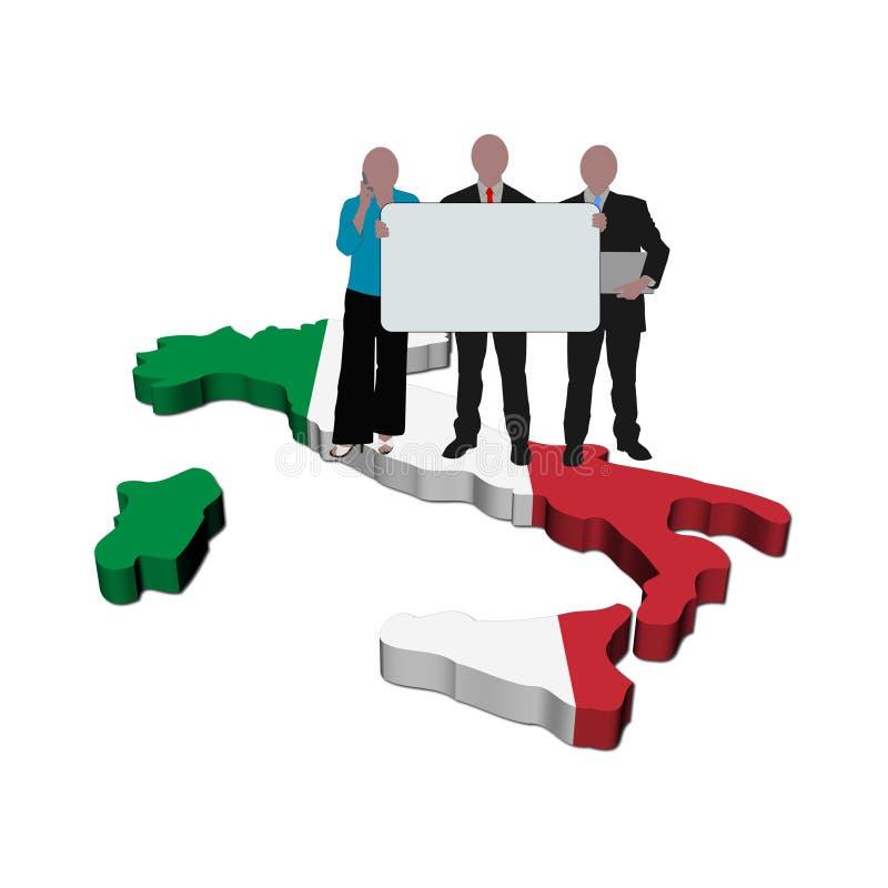 Équipe d'affaires sur l'indicateur de carte de l'Italie illustration stock