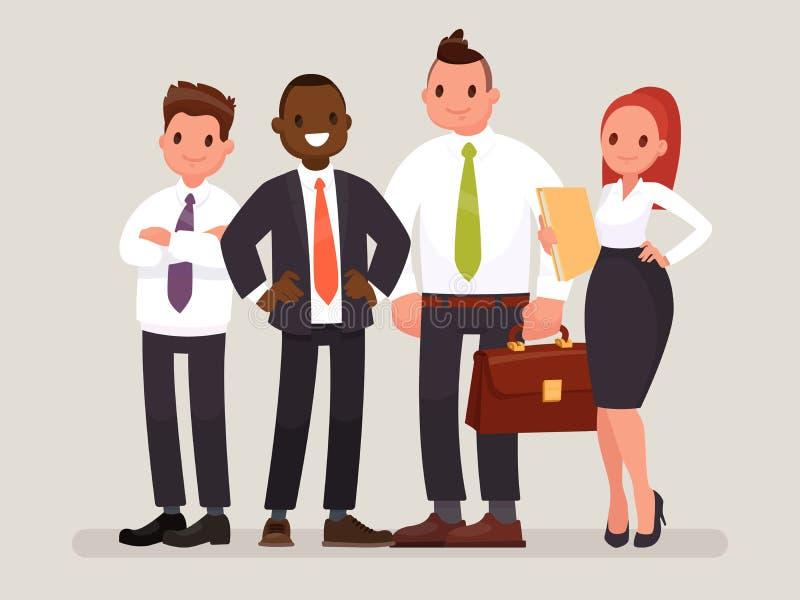 Équipe d'affaires Un groupe d'employés de bureau s'est dirigé par un chef Illustration de vecteur illustration de vecteur