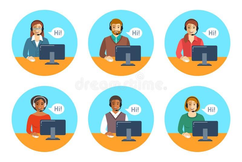 Équipe d'agents de centre d'appels aux icônes plates de bureaux illustration de vecteur