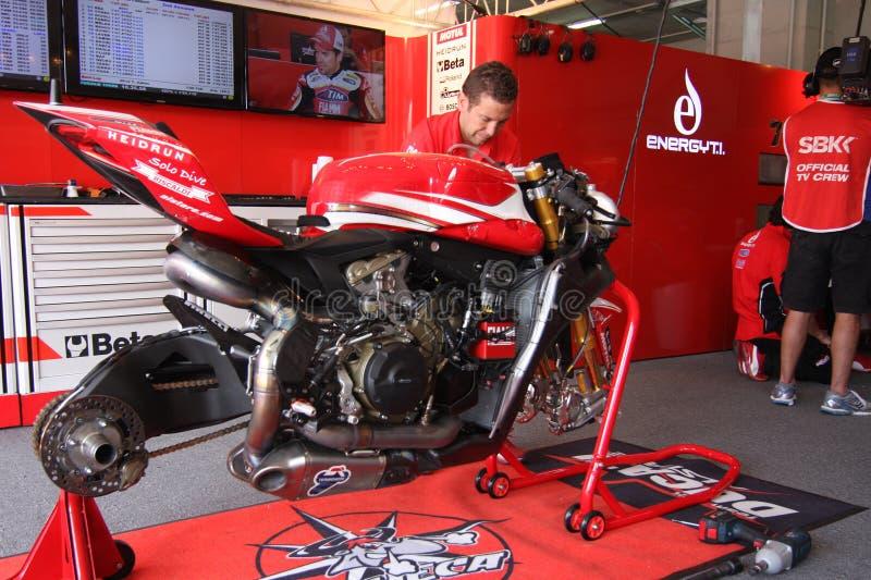 Équipe d'emballage officielle de Ducati Panigale WSBK photo libre de droits