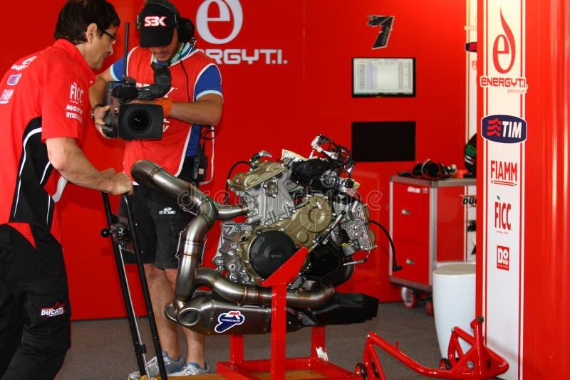 Équipe d'emballage officielle de Ducati Panigale WSBK image libre de droits