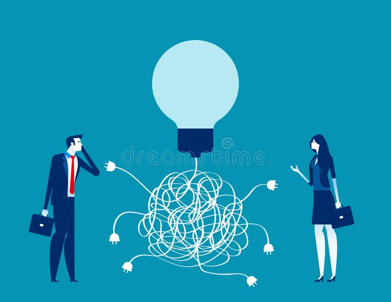 Équipe d'entreprise et solution, Concept Business vecteur, Confusion, Chaos, Choice illustration stock