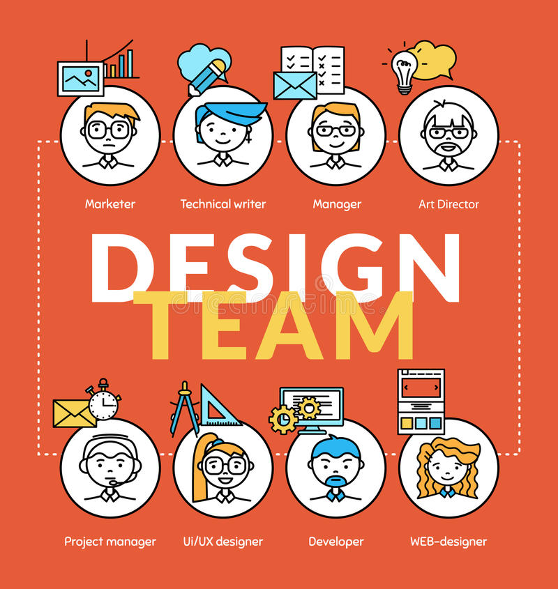 Équipe de créateurs Dirigez les concepts de la communauté d'équipe avec des icônes de profil illustration stock