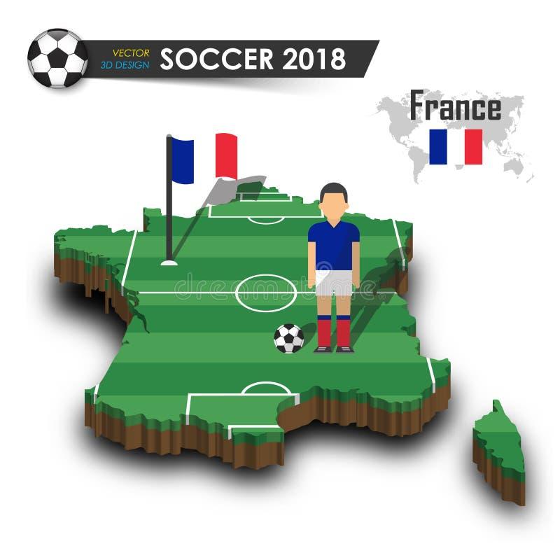 Équipe de football nationale de Frances Le joueur et le drapeau de football sur 3d conçoivent la carte de pays Fond d'isolement V illustration stock