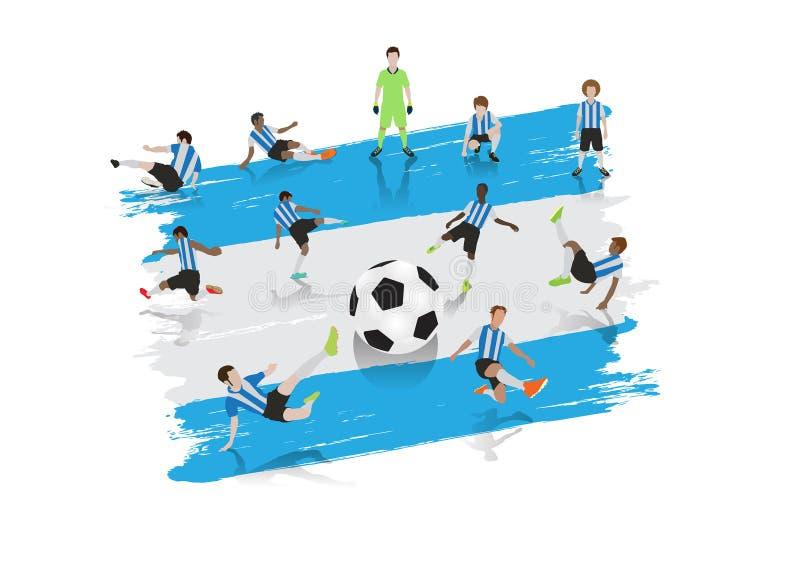 Équipe de footballeur de vecteur avec le drapeau de l'Argentine illustration stock