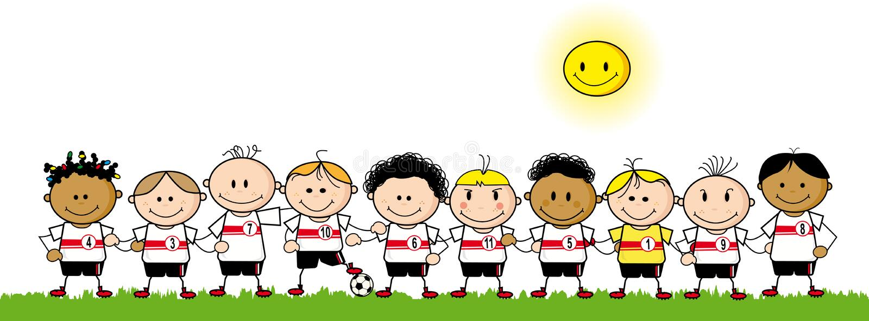 Équipe de garçons du football illustration libre de droits