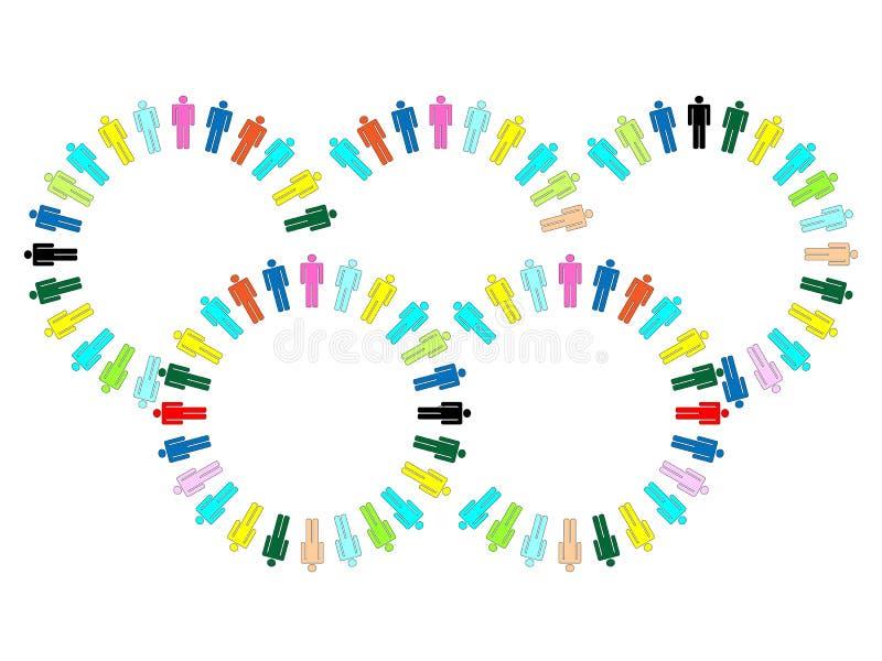 Équipe de main-d'oeuvre de boucles de Jeux Olympiques illustration libre de droits