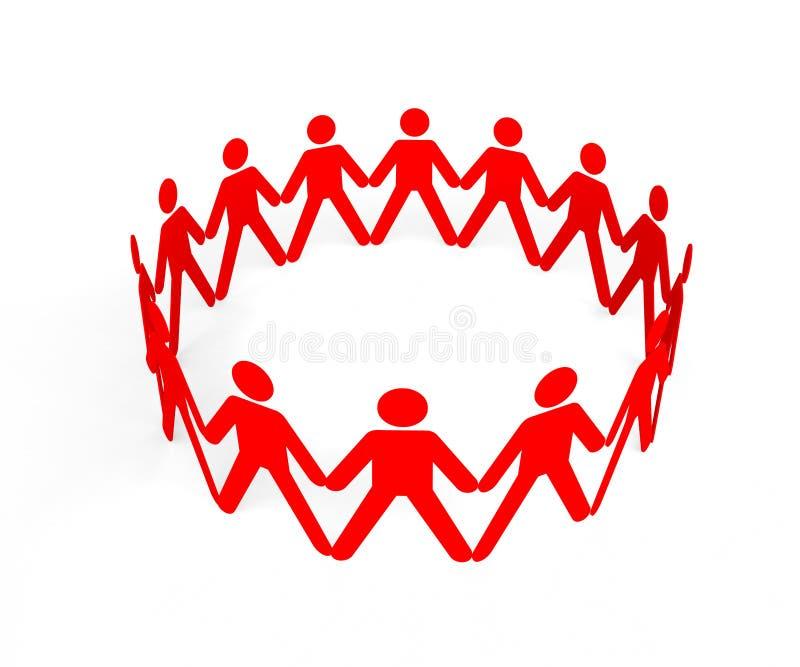 Équipe de personnes en cercle constituant un groupe entier illustration de vecteur
