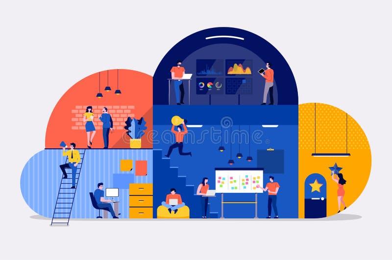 Équipe de service de nuage de l'espace de fonctionnement illustration libre de droits