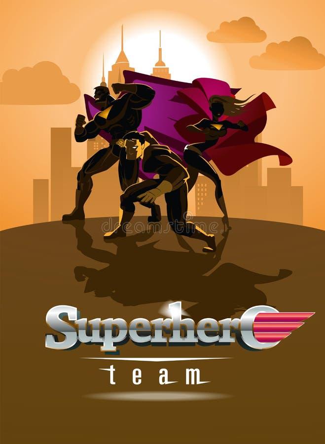 Équipe de super héros ; Équipe de super héros, posant devant une lumière illustration libre de droits