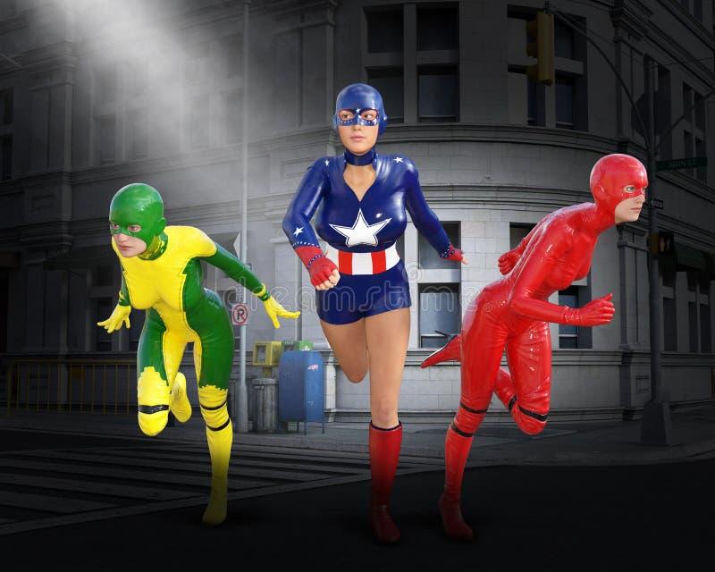 Équipe de super héros, superhéros, travail d'équipe, équipes illustration de vecteur