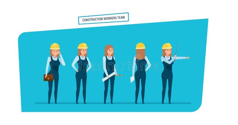 Équipe de travailleurs d'ingénieurs de construction Travail avec des documents, archives, projets illustration libre de droits