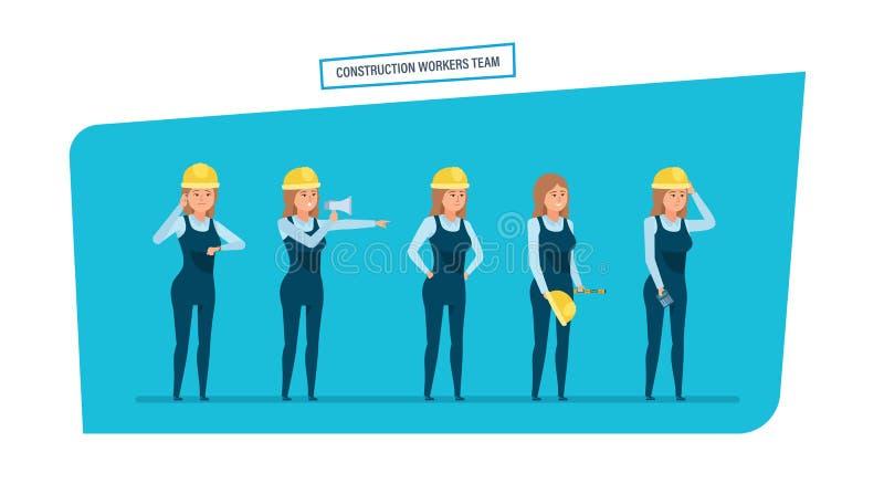 Équipe de travailleurs d'ingénieurs de construction Travail avec des documents, archives, projets illustration de vecteur