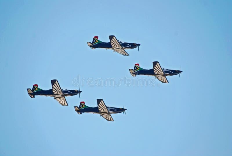 Équipe de vols acrobatiques de faucon de ruban images libres de droits