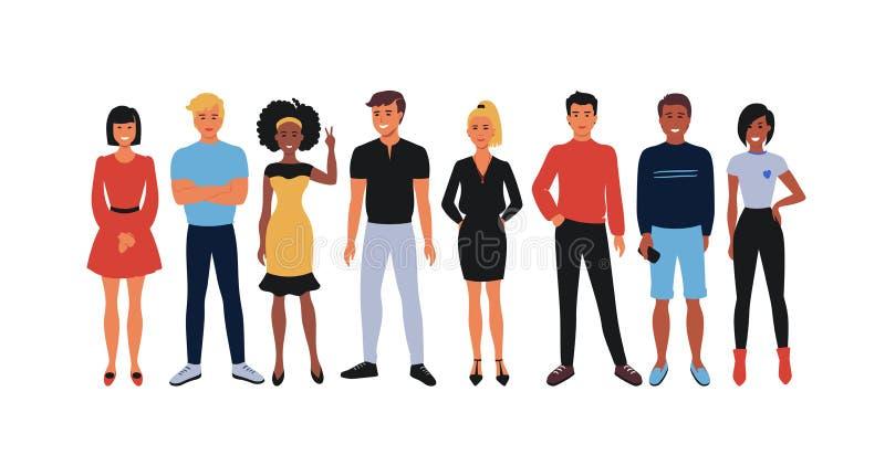 Équipe des employés de bande dessinée Groupe d'employés de bureau, hommes de sourire heureux et femmes des jeunes se tenant ensem illustration de vecteur