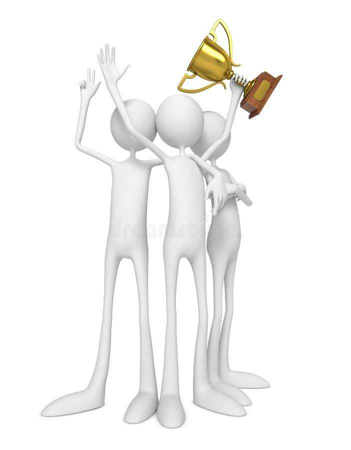 Équipe des gagnants célébrant avec le trophée.