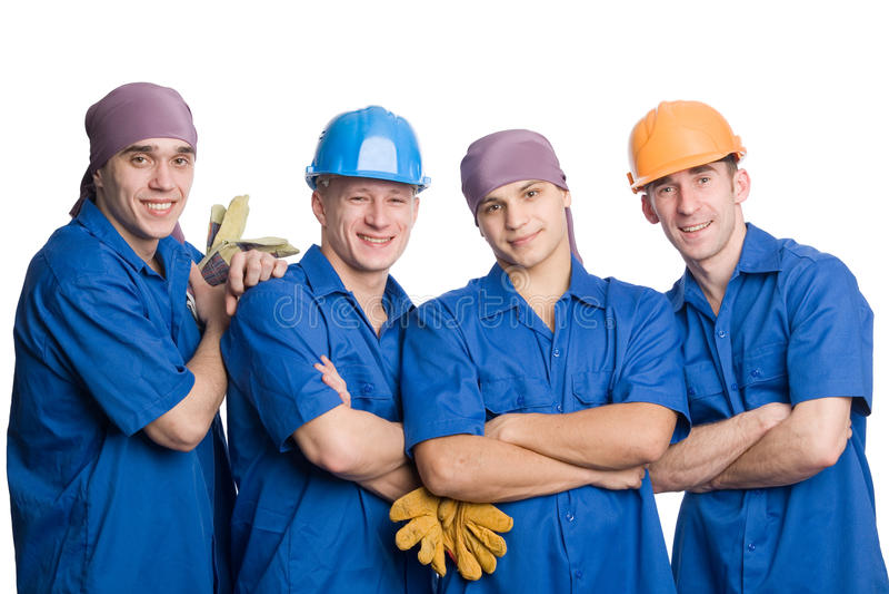 Équipe des travailleurs de la construction photos libres de droits