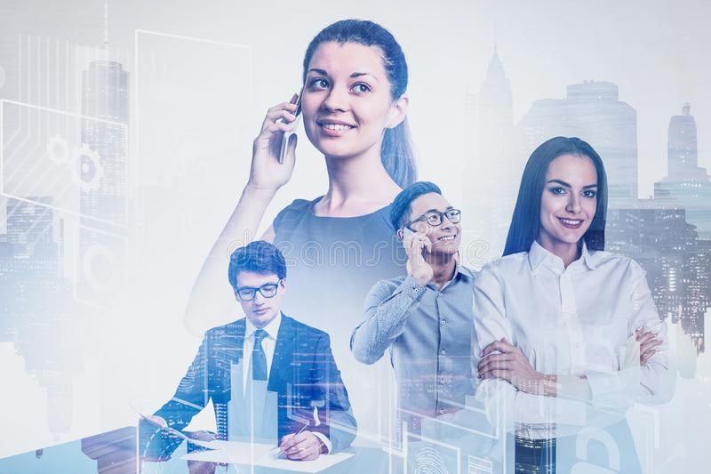 Équipe diverse d'affaires dans la ville, interface d'affaires image libre de droits