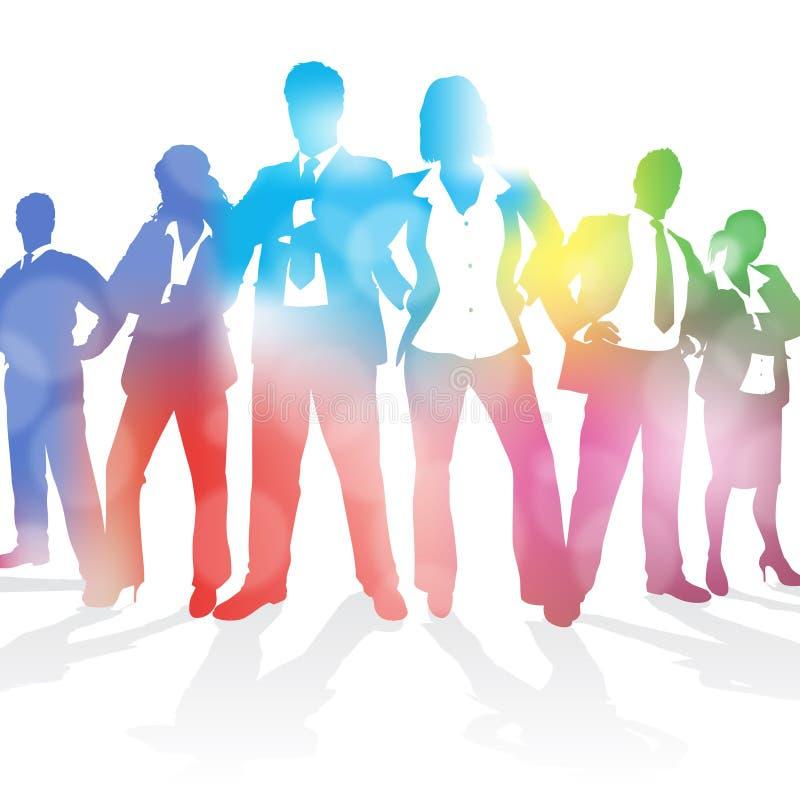 Équipe dynamique d'affaires sur un fond abstrait de tache floue. illustration stock