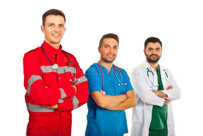 Équipe gaie de différents médecins image libre de droits