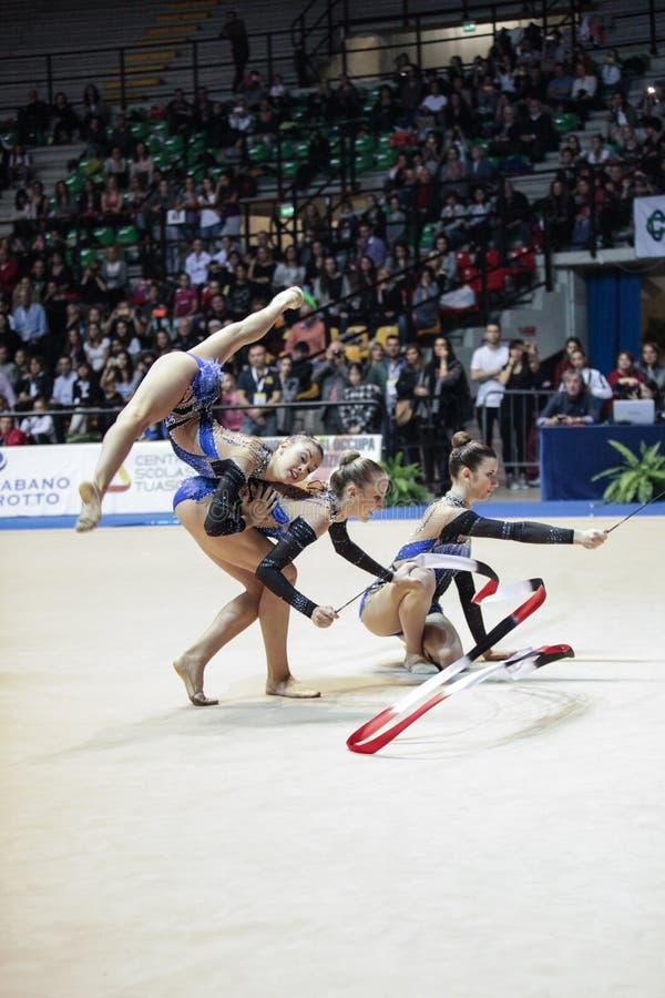 Équipe gymnastique rythmique nationale italienne photographie stock libre de droits