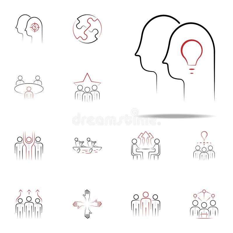 """équipe \ """"icône tirée par la main colorée par buts de s Ensemble universel d'icônes d'équipe pour le Web et le mobile illustration libre de droits"""
