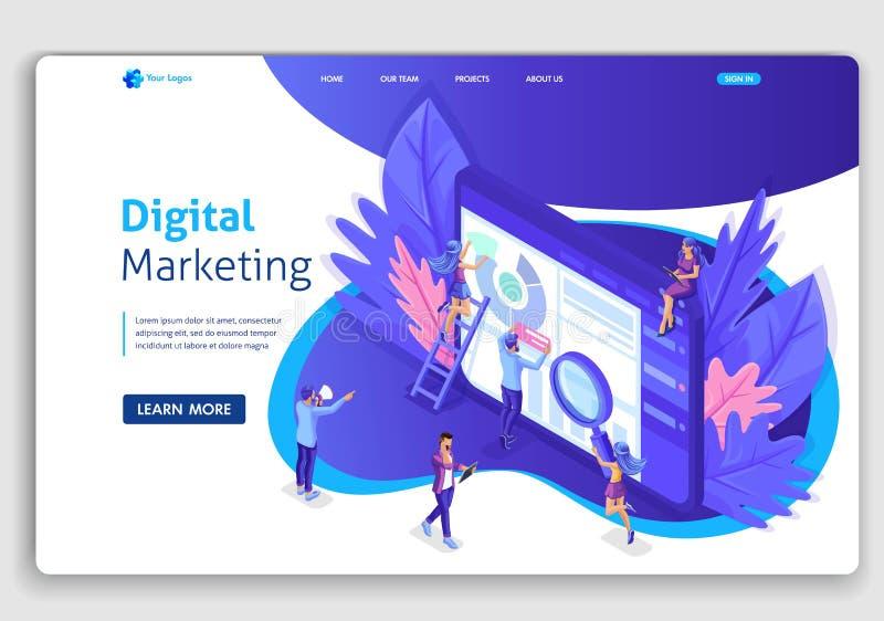 Équipe isométrique de débarquement de page de spécialistes travaillant à la page de débarquement de stratégie marketing numérique illustration libre de droits