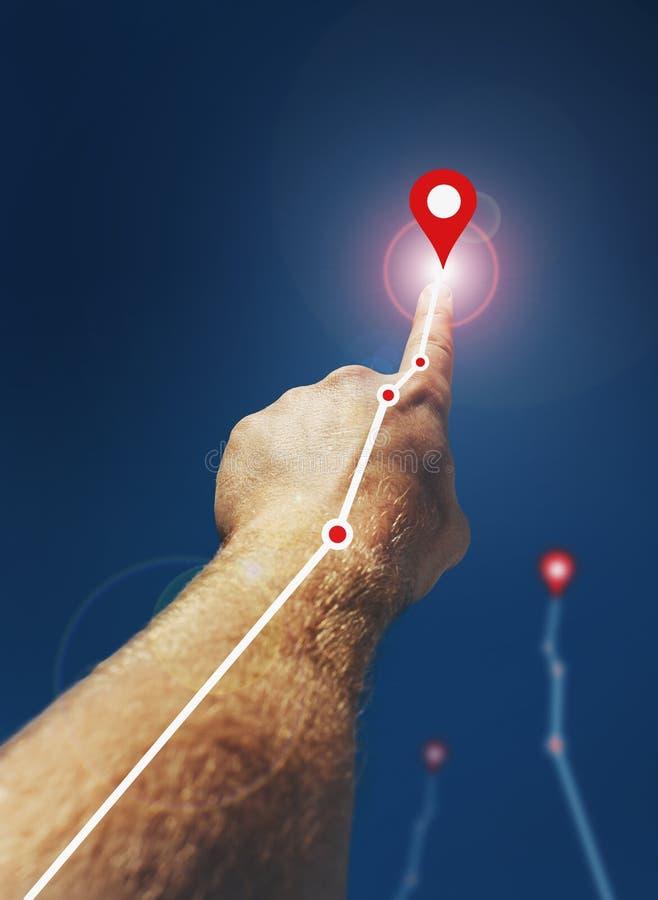 Équipe la main Le doigt se dirige vers le haut Escroquerie créative d'affaires images libres de droits