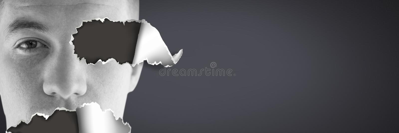 Équipe le visage avec le papier déchiré illustration libre de droits